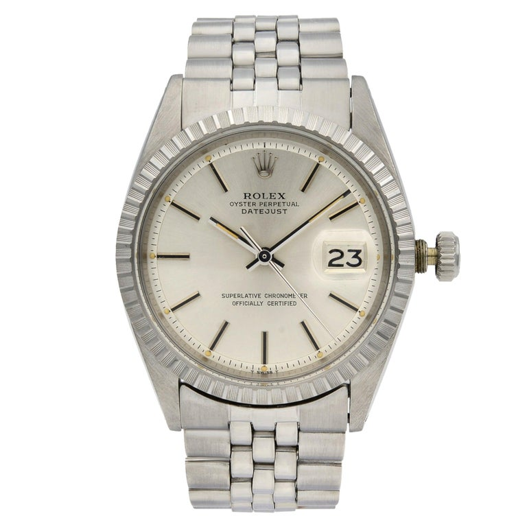 Rolex Datejust Steel Silver Dial Engine Turned Bezel Automatic Men's Watch 1603 For Sale