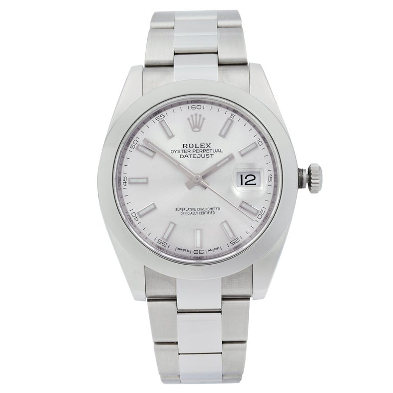Rolex Datejust Steel Silver Index Dial Smooth Automatic Men's Watch 126300 For Sale