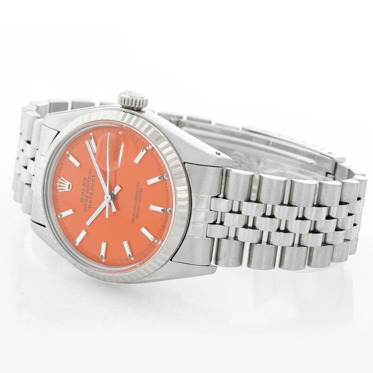 Rolex Datejust Steel Watch 1601 Orange Dial Men's Watch For Sale 1