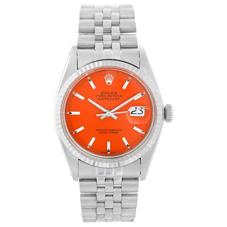 Rolex Datejust Steel Watch 1601 Orange Dial Men's Watch For Sale