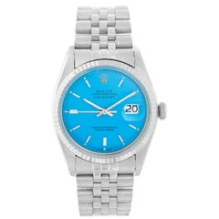 Rolex Datejust Steel Watch 1601 Turquoise Dial Men's Watch