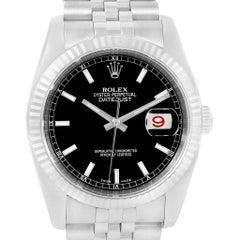 Rolex Datejust Steel White Gold Black Dial Jubilee Bracelet Watch 116234
