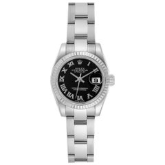 Rolex Datejust Steel White Gold Black Dial Ladies Watch 179174 Box Papers