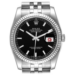 Rolex Datejust Steel White Gold Black Dial Men's Watch 116234 Box Card