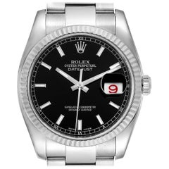 Rolex Datejust Steel White Gold Black Dial Men's Watch 116234 Box Card