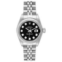 Rolex Datejust Steel White Gold Black Diamond Dial Ladies Watch 79174