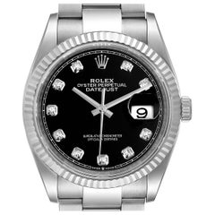 Rolex Datejust Steel White Gold Black Diamond Dial Men's Watch 126234