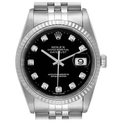 Rolex Datejust Steel White Gold Black Diamond Dial Men's Watch 16234