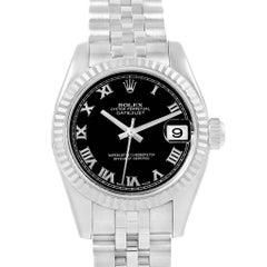 Rolex Datejust Steel White Gold Black Roman Dial Ladies Watch 179174