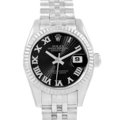 Rolex Datejust Steel White Gold Black Sunbeam Dial Ladies Watch 179174