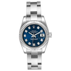Rolex Datejust Steel White Gold Blue Diamond Dial Ladies Watch 179174
