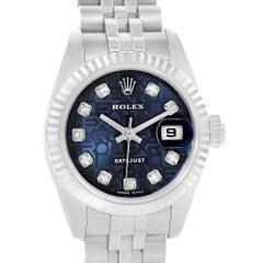 Rolex Datejust Steel White Gold Blue Diamond Dial Ladies Watch 179174