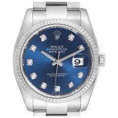 Rolex Datejust Steel White Gold Blue Diamond Dial Men's Watch 116234