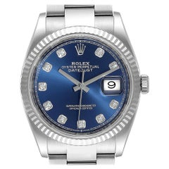Rolex Datejust Steel White Gold Blue Diamond Dial Men's Watch 126234