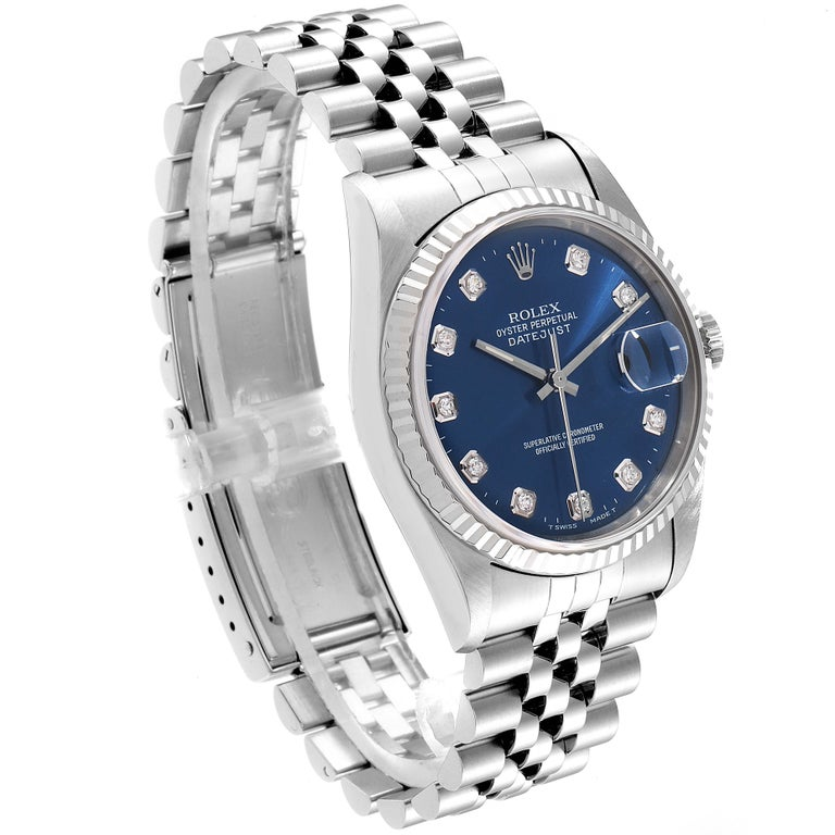 Rolex Datejust Steel White Gold Blue Diamond Dial Men's Watch 16234 In Good Condition For Sale In Atlanta, GA