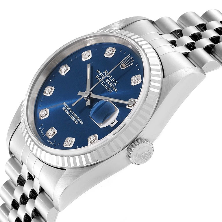 Rolex Datejust Steel White Gold Blue Diamond Dial Men's Watch 16234 For Sale 2