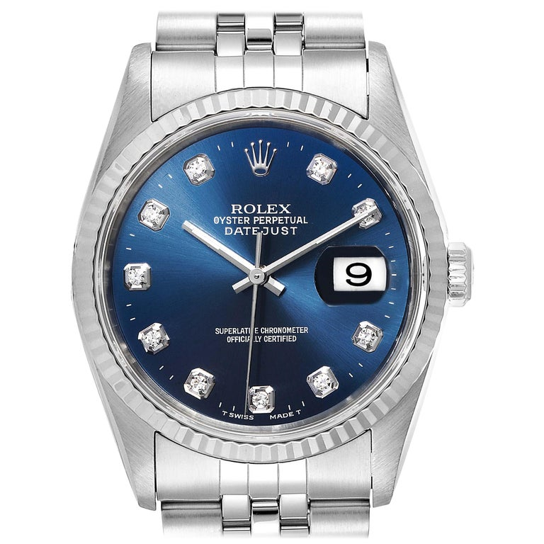 Rolex Datejust Steel White Gold Blue Diamond Dial Men's Watch 16234 For Sale
