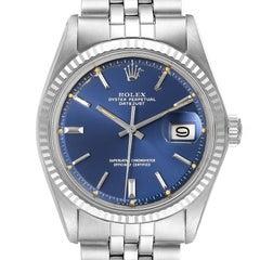 Rolex Datejust Steel White Gold Blue Sigma Dial Vintage Watch 1601