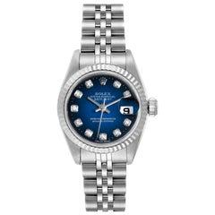 Rolex Datejust Steel White Gold Blue Vignette Diamond Ladies Watch 69174