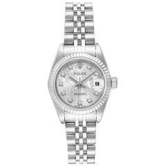 Rolex Datejust Steel White Gold Diamond Dial Ladies Watch 79174