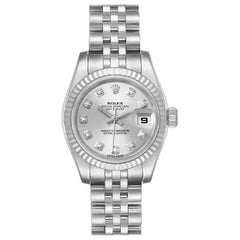 Rolex Datejust Steel White Gold Diamond Ladies Watch 179174 Box Card