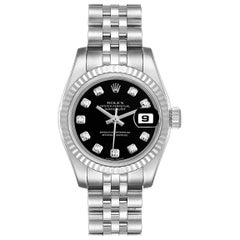 Rolex Datejust Steel White Gold Diamond Ladies Watch 179174 Box