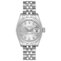 Rolex Datejust Steel White Gold Diamond Ladies Watch 179174 Box Papers