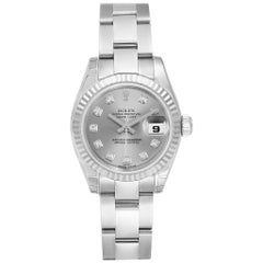 Rolex Datejust Steel White Gold Diamond Ladies Watch 179174 Unworn