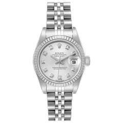 Rolex Datejust Steel White Gold Diamond Ladies Watch 79174 Papers