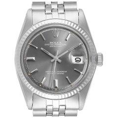 Rolex Datejust Steel White Gold Grey Dial Vintage Men's Watch 1601