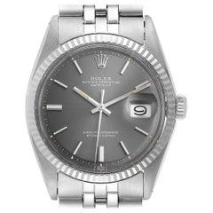 Rolex Datejust Steel White Gold Grey Dial Vintage Steel Watch 1601