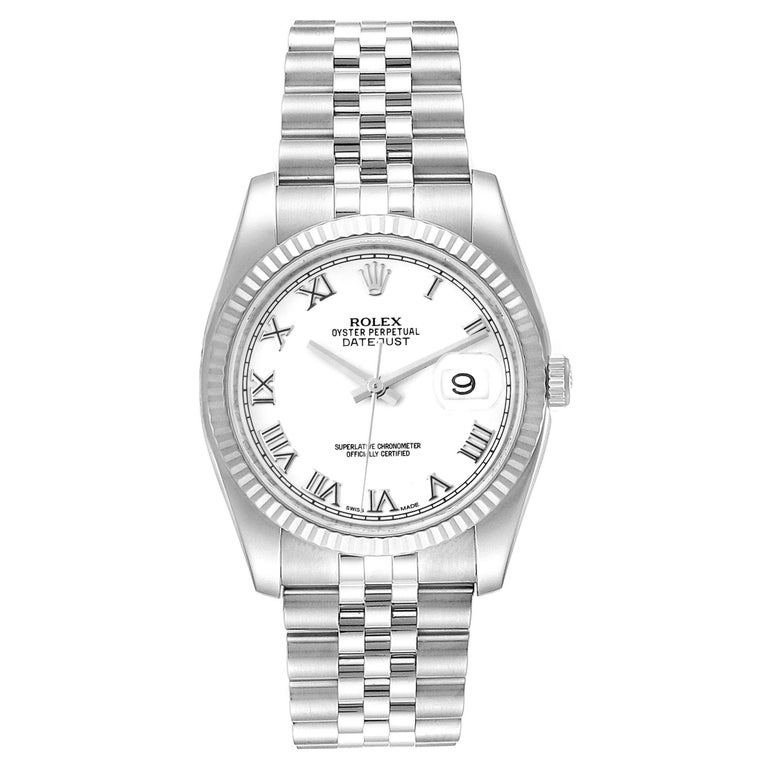 Rolex Datejust Steel White Gold Jubilee Bracelet Mens Watch 116234. Officially certified chronometer self-winding movement. Stainless steel case 36.0 mm in diameter.  Rolex logo on a crown. 18K white gold fluted bezel. Scratch resistant sapphire