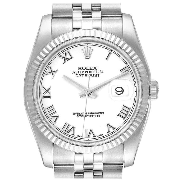 Rolex Datejust Steel White Gold Jubilee Bracelet Men's Watch 116234