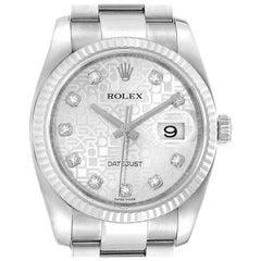 Rolex Datejust Steel White Gold Jubilee Diamond Dial Mens Watch 116234