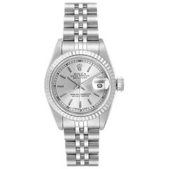 Rolex Datejust Steel White Gold Ladies Watch 69174 Box Papers