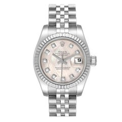 Rolex Datejust Steel White Gold MOP Diamond Ladies Watch 179174