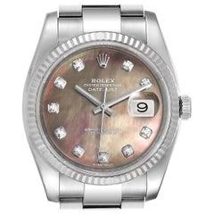 Rolex Datejust Steel White Gold MOP Diamond Men's Watch 116234 Box Card