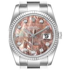 Rolex Datejust Steel White Gold MOP Diamond Men's Watch 116234 Box Papers