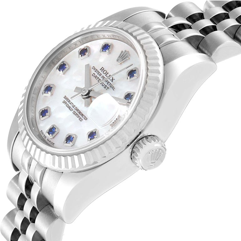 Rolex Datejust Steel White Gold MOP Saphire Ladies Watch 179174 Box Card For Sale 1