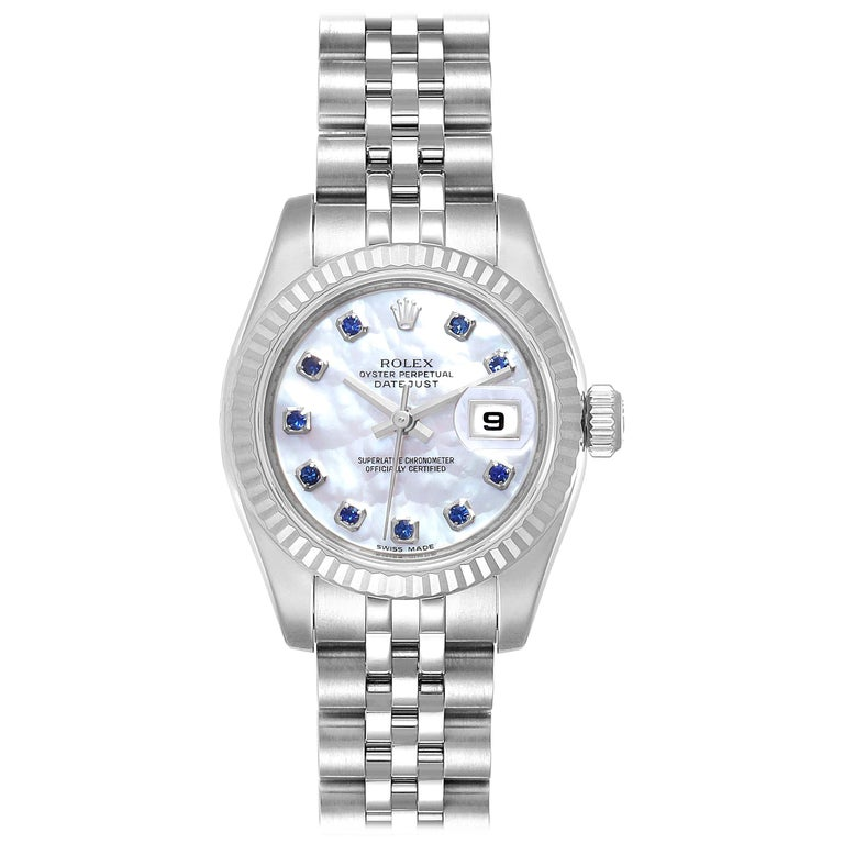 Rolex Datejust Steel White Gold MOP Saphire Ladies Watch 179174 Box Card For Sale