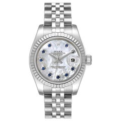 Rolex Datejust Steel White Gold MOP Saphire Ladies Watch 179174