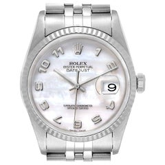 Rolex Datejust Steel White Gold Mother of Pearl Dial Men's Watch 16234