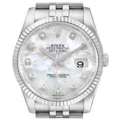 Rolex Datejust Steel White Gold Mother of Pearl Diamond Dial Men's Watch 116234