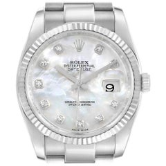 Rolex Datejust Steel White Gold Mother of Pearl Diamond Dial Watch 116234