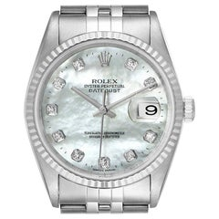 Rolex Datejust Steel White Gold Mother of Pearl Diamond Men's Watch 16234
