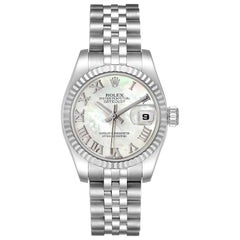 Rolex Datejust Steel White Gold Mother of Pearl Ladies Watch 179174