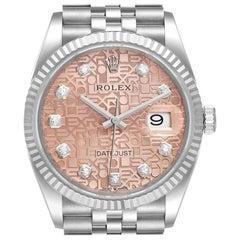 Rolex Datejust Steel White Gold Pink Dial Diamond Watch 126234 Unworn