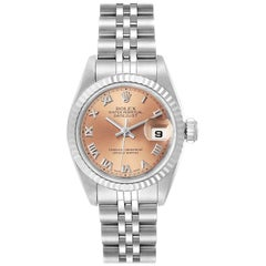 Rolex Datejust Steel White Gold Salmon Dial Ladies Watch 69174 Papers
