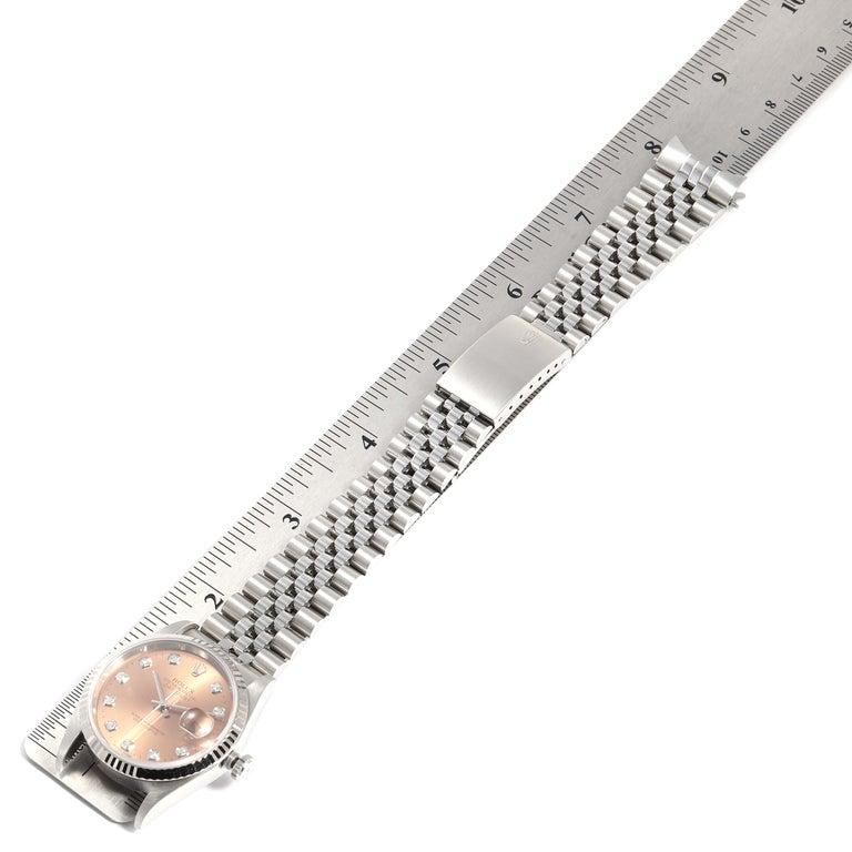 Rolex Datejust Steel White Gold Salmon Diamond Dial Men's Watch 16234 7