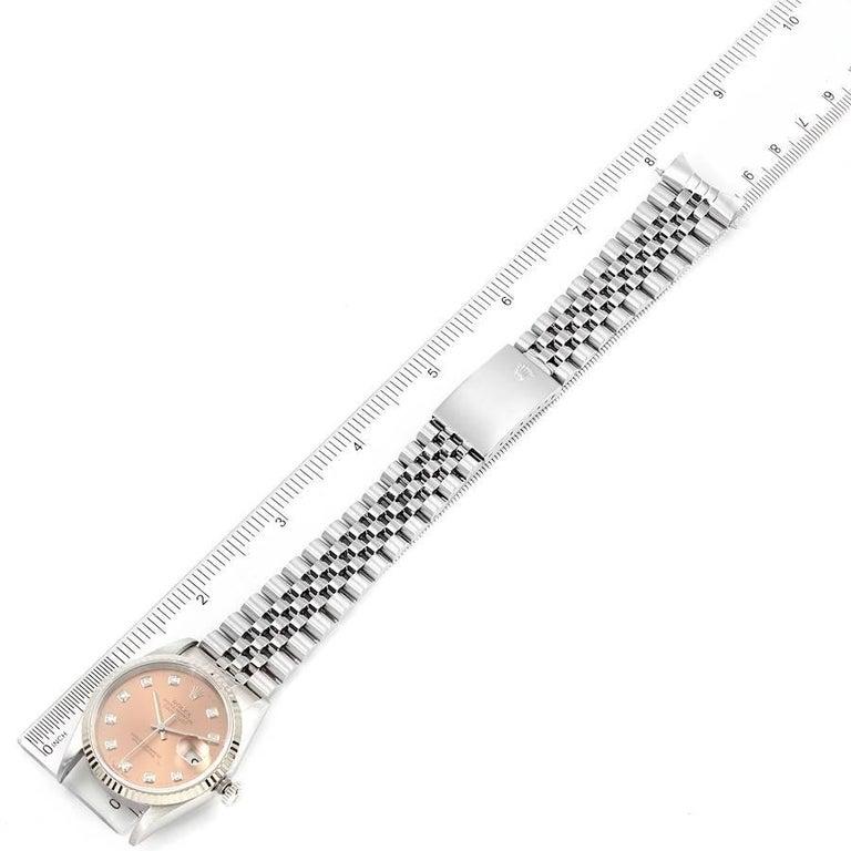Rolex Datejust Steel White Gold Salmon Diamond Dial Men's Watch 16234 For Sale 7